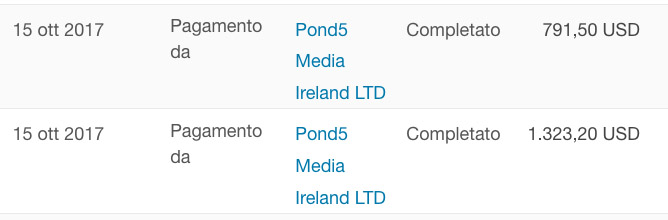 Screenshot dei guadagni mensili di Pond5