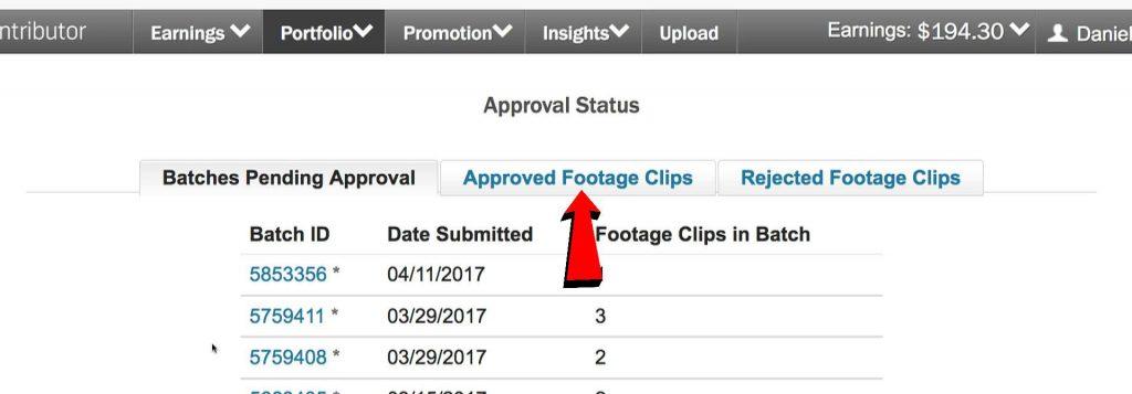Screenshot della dashboard di Shutterstock