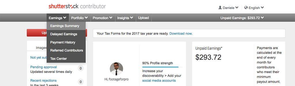 Screenshot della mia dashboard sull'agenzia di microstock Shutterstock