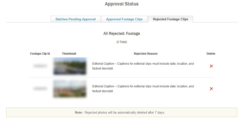 Screenshot di un messaggio di rejection di Shutterstock