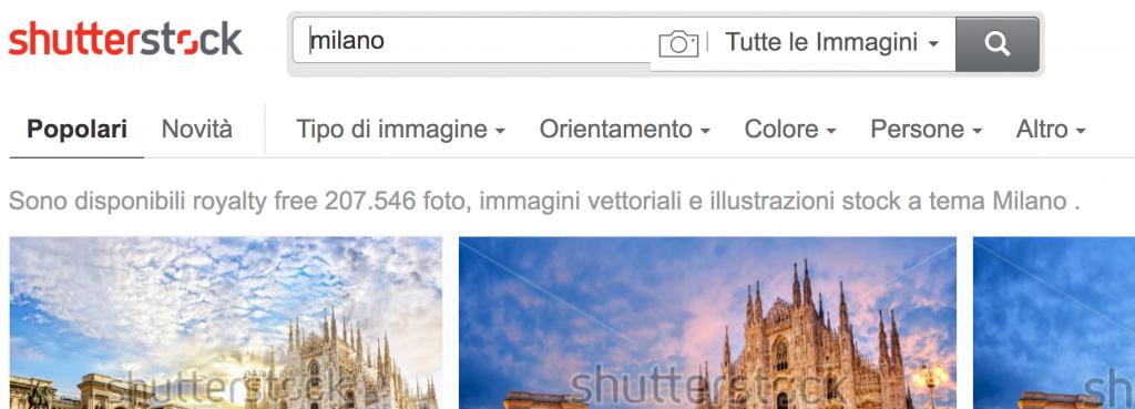 Screen Shot dei risultati della query Milano su Shutterstock che dimostrano di quanti fotografi ci sono che provano a vendere le proprie foto