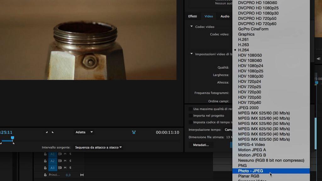 Schermata del programma per montare video: Adobe Premiere