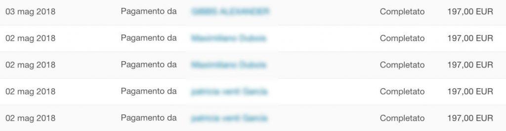 Screenshot di un pagamento ricevuto su Paypal per la vendita di stock footage