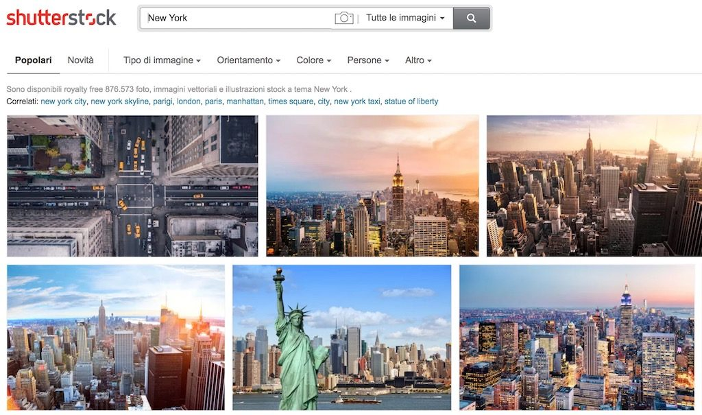 SERP di Shutterstock sulla query New York