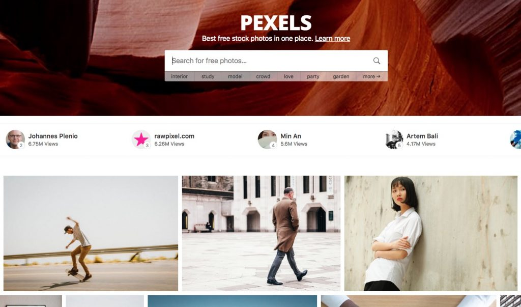 Homepage del siti per scaricare immagini gratis Pexels