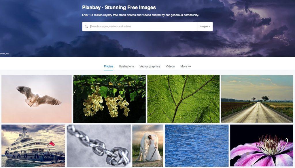 Homepage di Pixabay, un portale da cui si scaricano immagini gratis