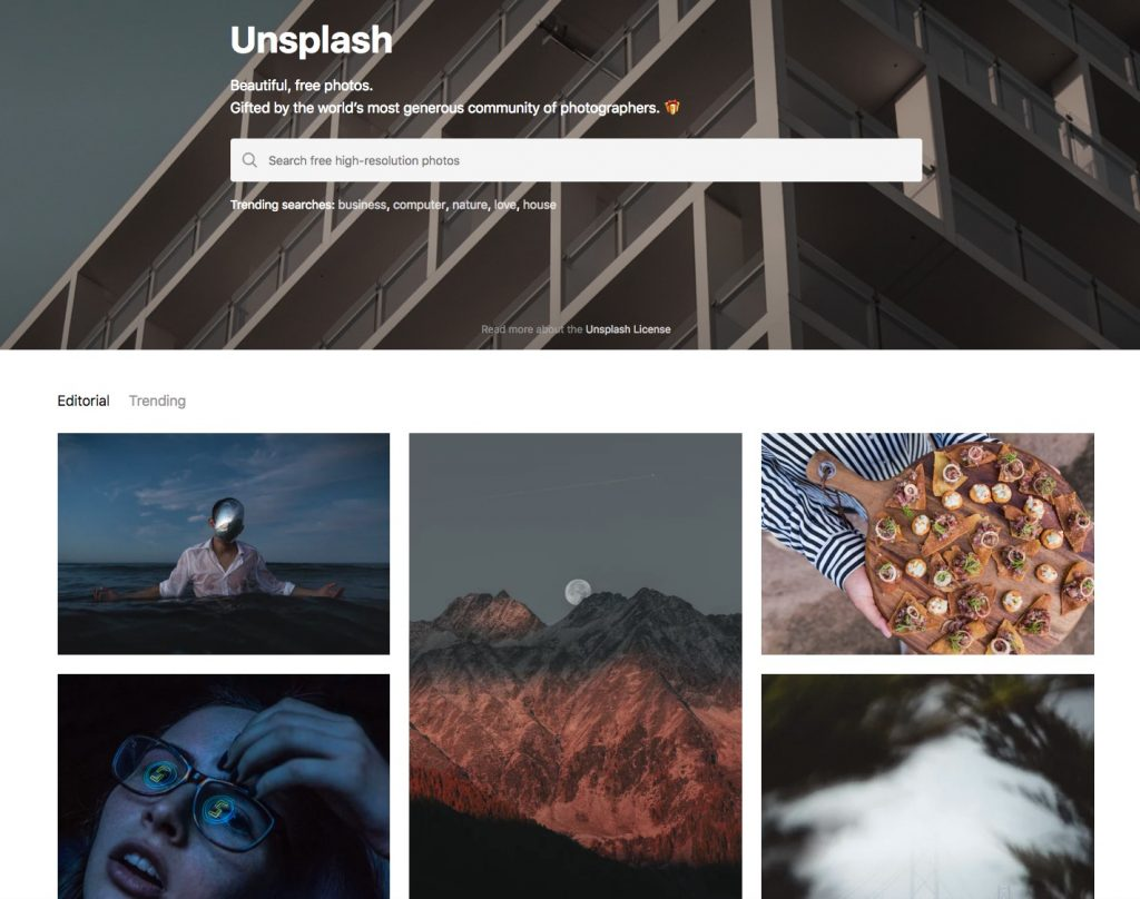 La homepage del siti di immagini gratis Unsplash