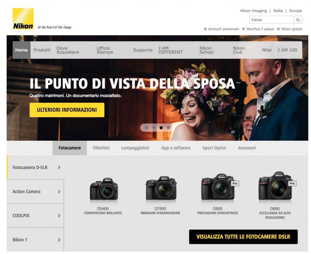Homepage del sito di fotografia Nikon