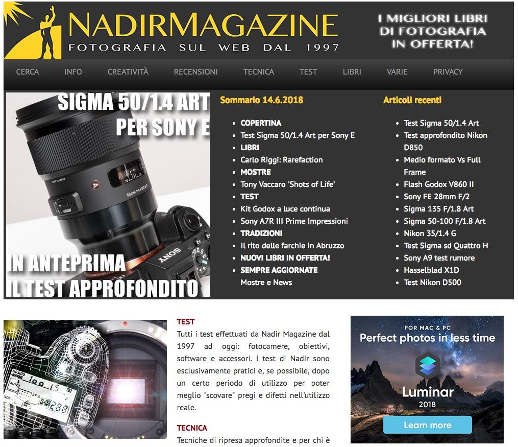 Homepage del sito di fotografia Nadir Magazine