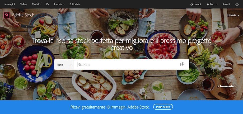 Homepage di Adobe Stock