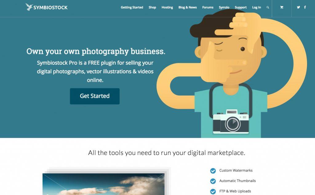 Homepage del plug in di WordPress Symbiostock