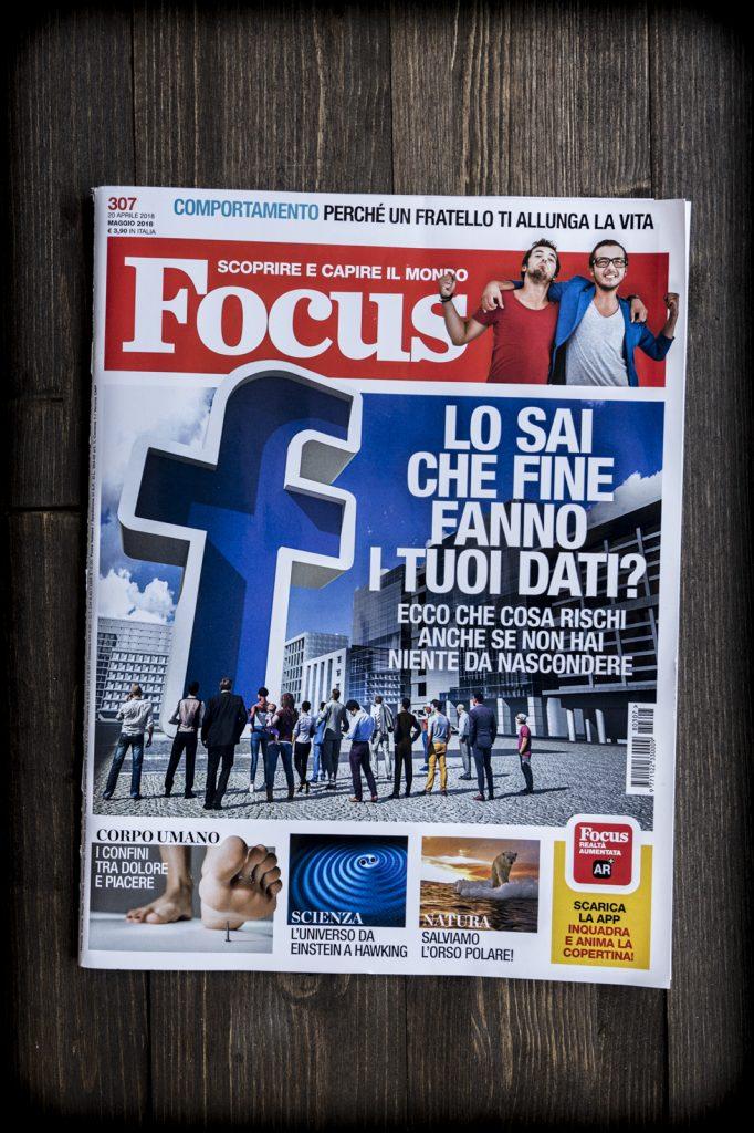 Copertina di Focus dell'aprile 2018 curata dal grafico freelance Daniele Gay