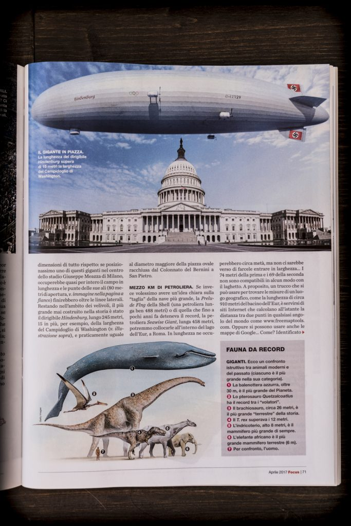 Fotomontaggio di un dirigibile del grafico freelance Daniele Gay per la rivista Focus