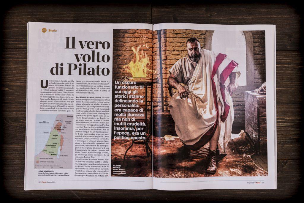 Rivista Focus con la foto di Ponzio Pilato elaborata dal grafico freelance Daniele Gay