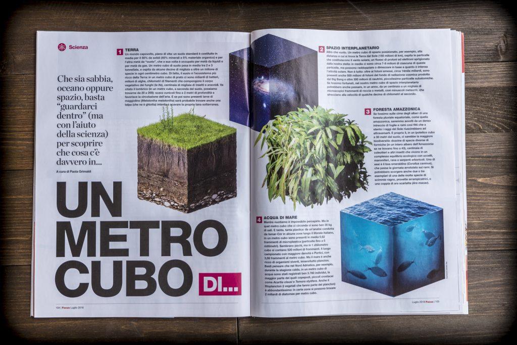 Pagine della rivista focus con la grafica del freelance Daniele Gay
