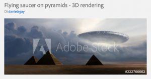 Illustrazione di un disco volante sopra le piramidi realizzata da Daniele Gay e in vendita su Adobe Stock