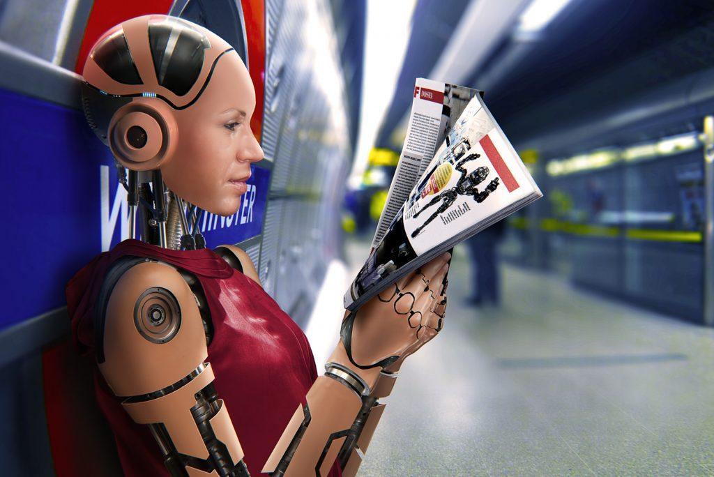 Lavoro grafico del freelance Daniele Gay raffiguarnte un robot che legge il giornale aspettando la metropolitana a Londra