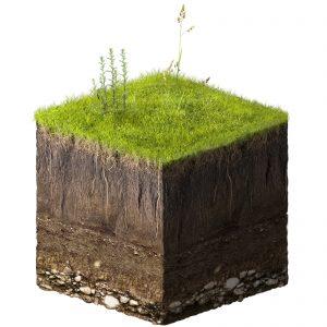 Fotomontaggio di un cubo di terra