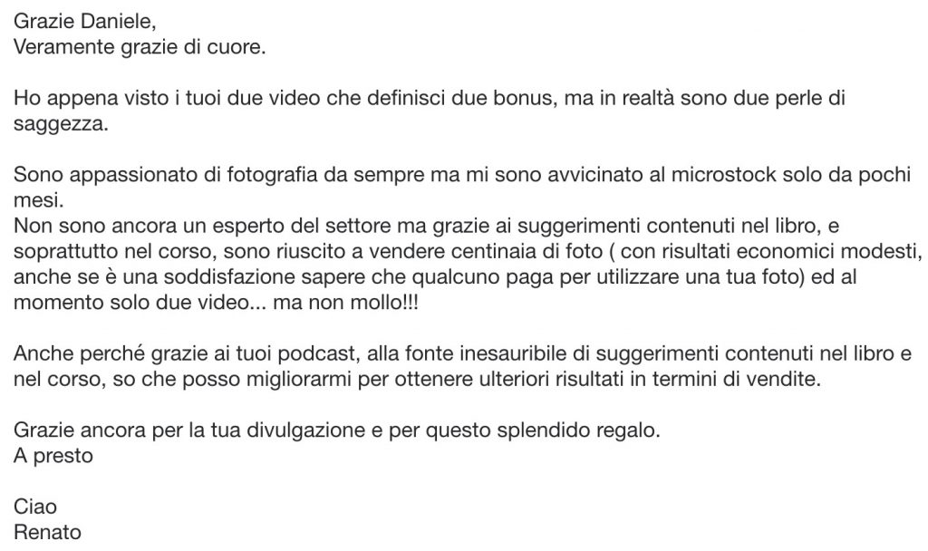 Screenshot messaggio email