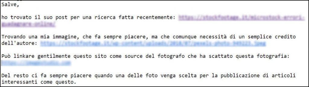 Mail di un fotografo che richiede una citazione dopo che un sito ha pubblicato una sua foto scaricata da Pexels