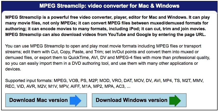 Schermata del sito di Squared 5 da dove scaricare Mpeg streamclip