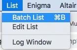 Comando di selezione di Batch List su Mpeg Streamclip