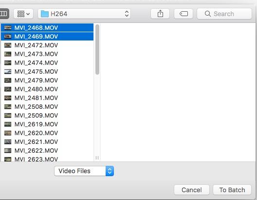 Comando di selezione dei file su Mpeg Streamclip