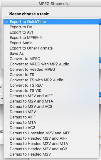 Selezione del formato su Mpeg Streamclip