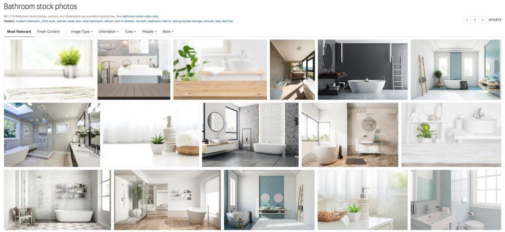 La SERP di Shutterstock per la keyword bathroom