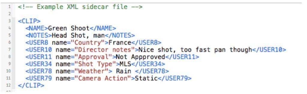 Esempio di file XML abbianato a un mp4
