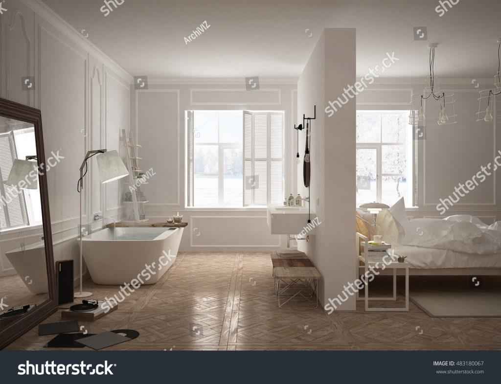 Bagno e stanza da letto con design curato