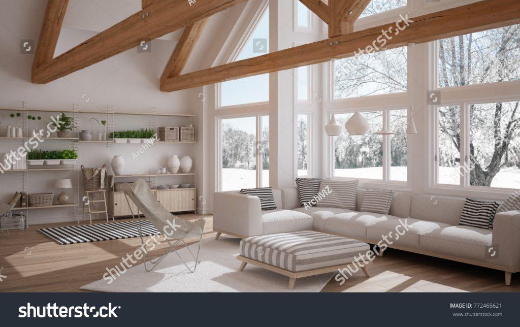 Interno di design di una casa in montagna