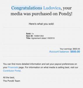 Notifica di vendita di stock footage su Pond5