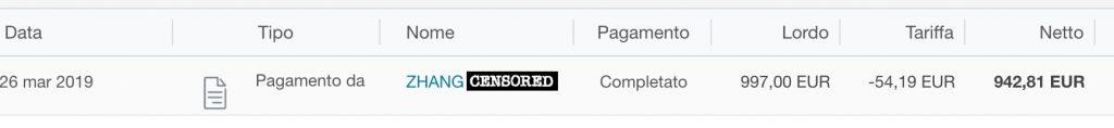 Screenshot spese per una transazione di PayPal