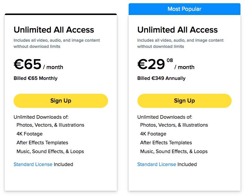 Prezzi dei piani per lo scarico di foto, video e musica illimitati su Storyblocks