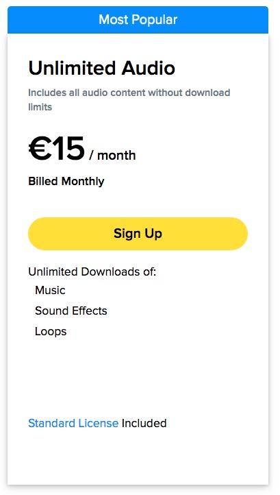 Costo dell'abbonamento mensile per lo scarico di musica su Storyblocks