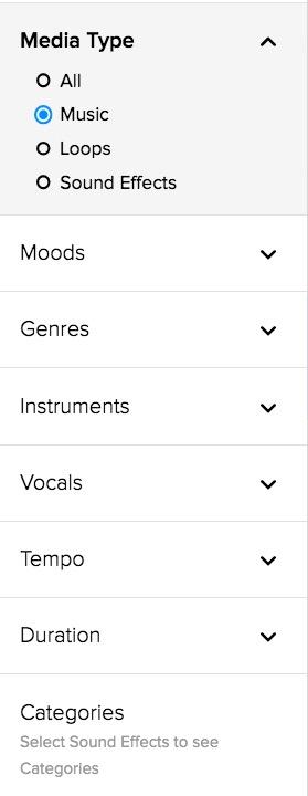 Filtri per trovare la musica su Storyblocks