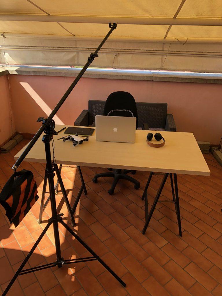 Sistema per riprendere stock footage con cavalletto e reflex