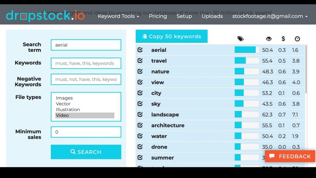 """Risultati della ricerca dei video con la parola """"aerial"""" tra le keyword su dropstock.io"""