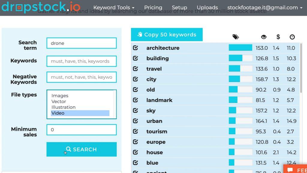 """Risultati della ricerca dei video con la parola """"drone"""" tra le keyword su dropstock.io"""