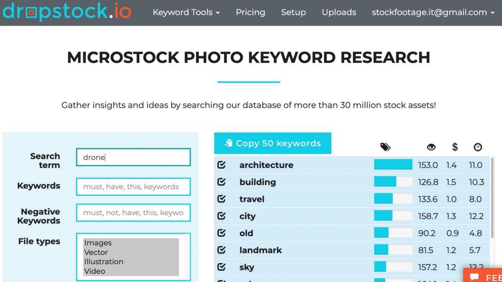 """Risultati della ricerca della parola """"drone"""" su dropstock.io"""