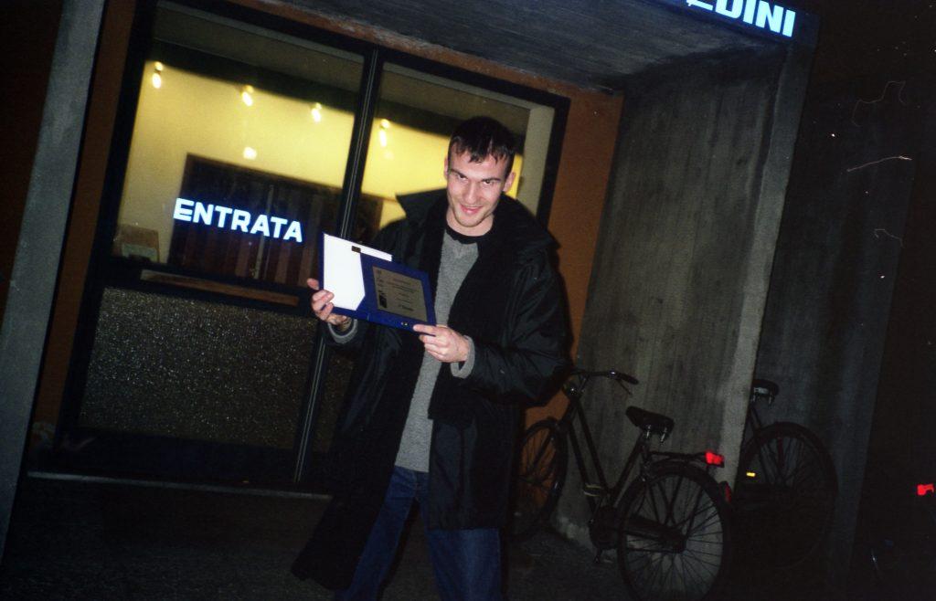 Daniele Carrer nel gennaio 2001 a Ferrara alla premiazione di un Festival