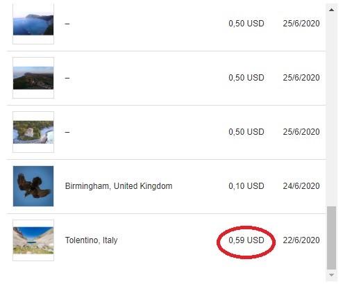 Resoconto di vendita di Shutterstock