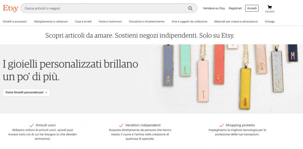 Etsy: i prodotti in vendita nella homepag