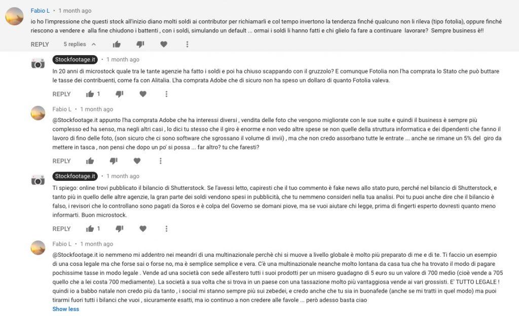 Commenti apparsi sotto a un video YouTube che parla di microstock