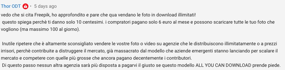 Commento apparso su YouTube