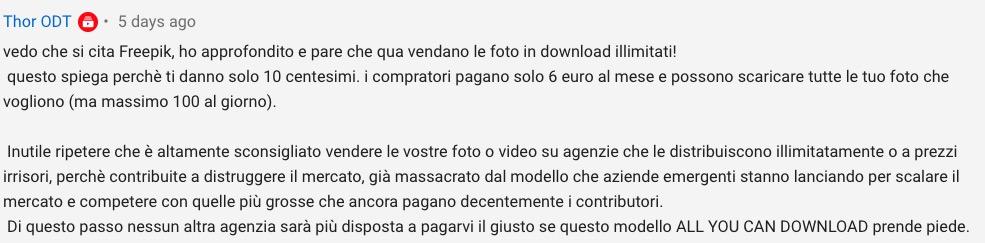 Commento apparso su YouTube