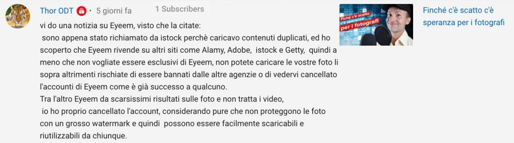 Commento YouTube relativo al microstock EyeEm