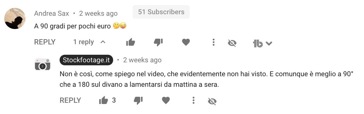 Commento apparso sotto a un video di Daniele Carrer su YouTube