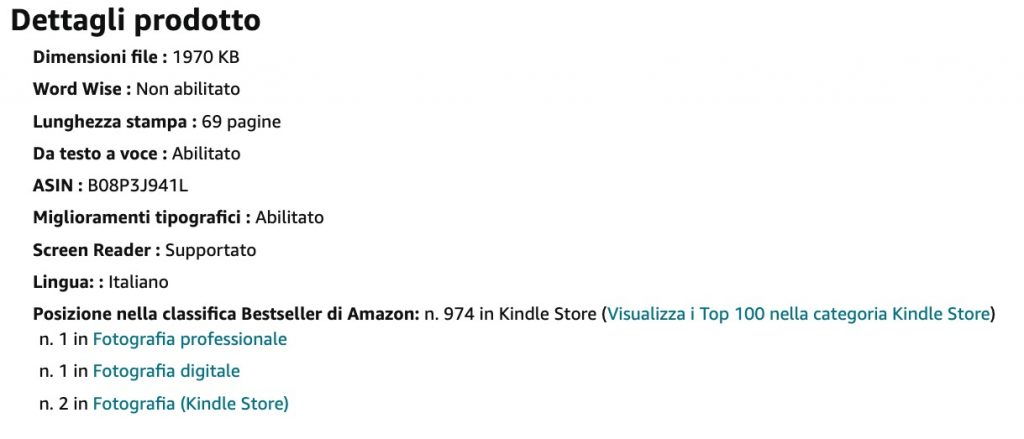 Screenshot che mostra la classifica dei libri più venduti su Amazon